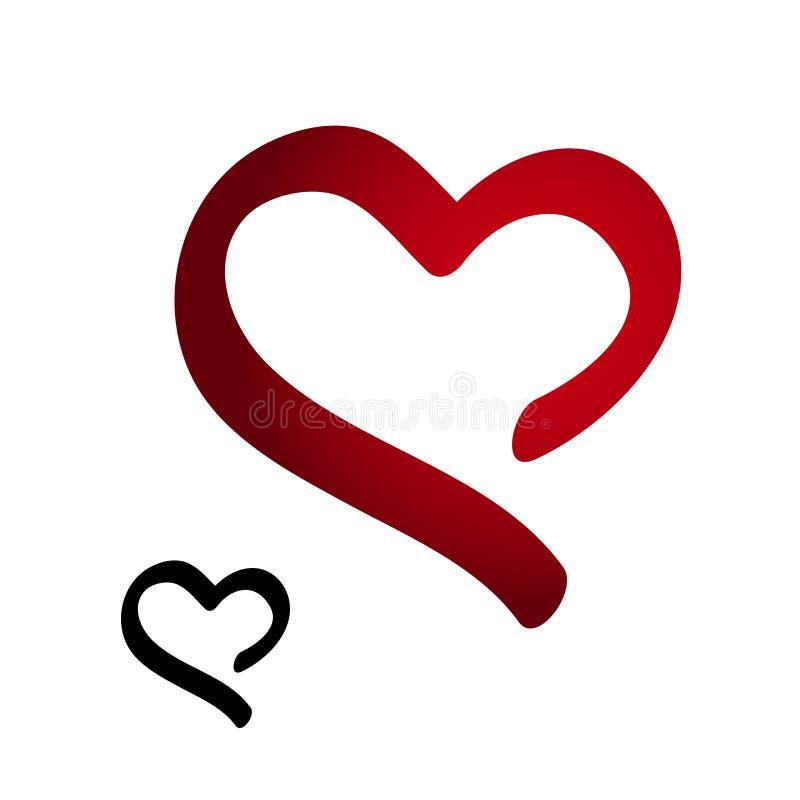 Κόκκινη και μαύρη σκιαγραφία της καρδιάς - σύμβολο σχεδίων χεριών απεικόνιση αποθεμάτων