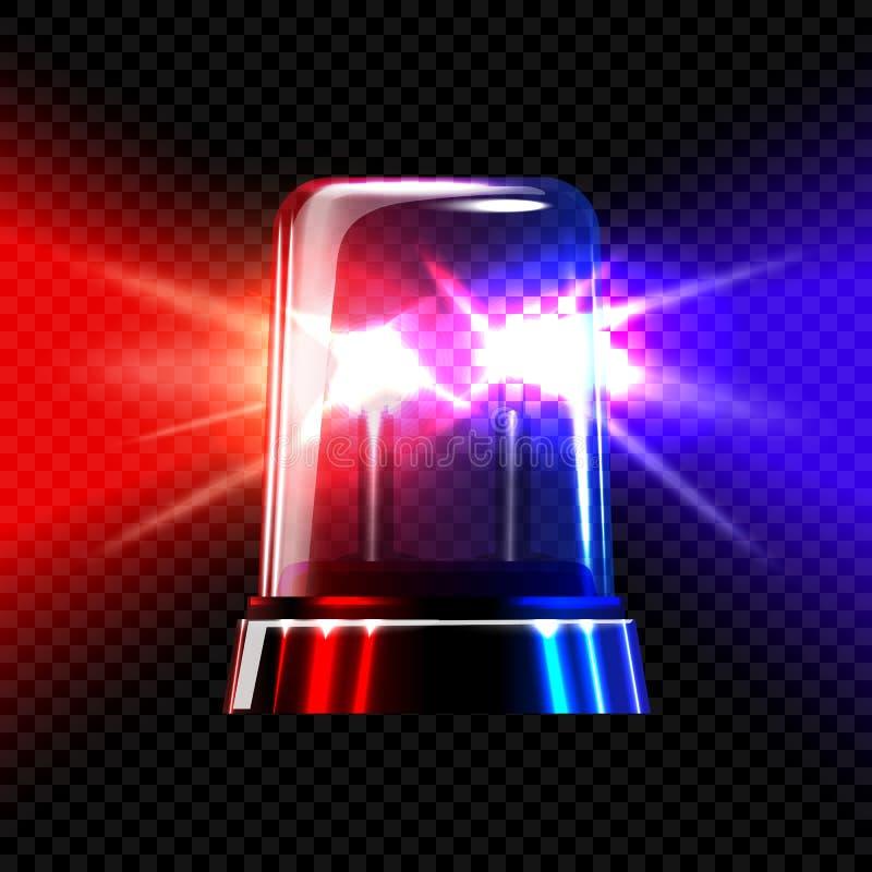 Κόκκινη και μπλε διαφανής λάμποντας σειρήνα έκτακτης ανάγκης στο σκοτεινό υπόβαθρο καρό διάνυσμα απεικόνιση αποθεμάτων