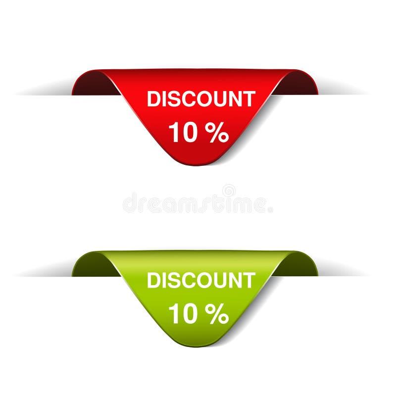 Κόκκινη και πράσινη ετικέτα διαφήμισης με το κείμενο 10 έκπτωση Καμμμένοι σελιδοδείκτες, κορδέλλες ελεύθερη απεικόνιση δικαιώματος