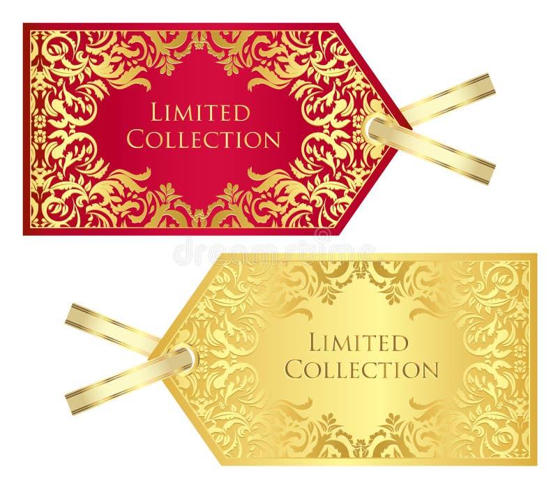 Κόκκινη και χρυσή τιμή πολυτέλειας με τον τρύγο patte ελεύθερη απεικόνιση δικαιώματος