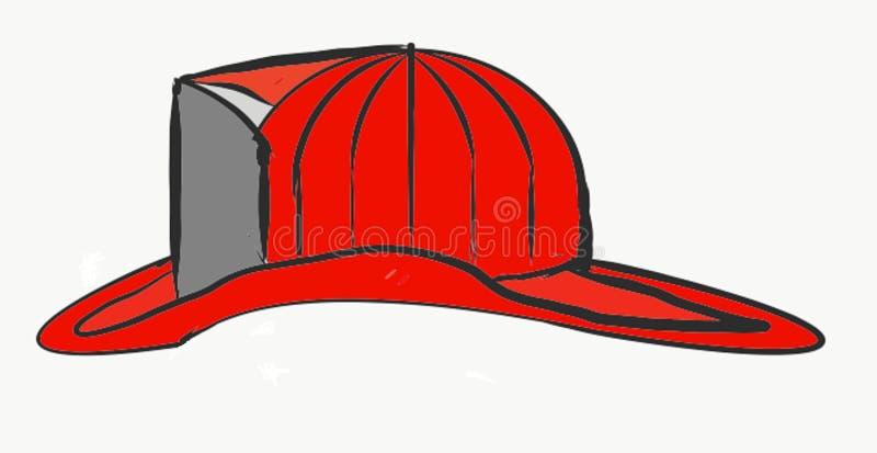 Κόκκινη ΚΑΠ πυροσβεστών επιχειρησιακού επαγγέλματος τέχνης συρμένη χέρι περίληψη φωτογραφιών απεικόνισης διανυσματική ελεύθερη απεικόνιση δικαιώματος
