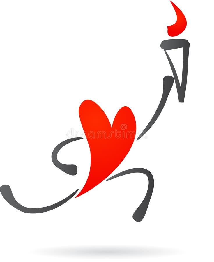 Κόκκινη καρδιά με έναν φανό ελεύθερη απεικόνιση δικαιώματος