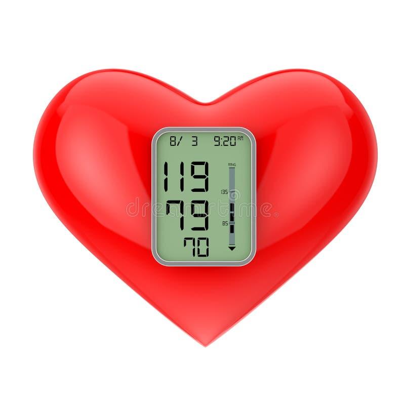 Κόκκινη καρδιά με την οθόνη οργάνων ελέγχου πίεσης τρισδιάστατη απόδοση ελεύθερη απεικόνιση δικαιώματος