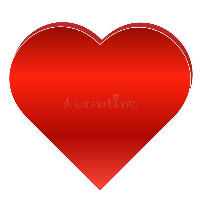 Κόκκινη καρδιά στο άσπρο υπόβαθρο διανυσματική απεικόνιση