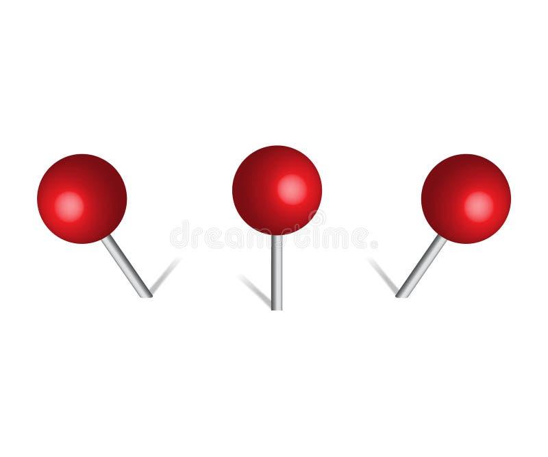 Κόκκινη καρφίτσα γραφείων ώθησης ελεύθερη απεικόνιση δικαιώματος