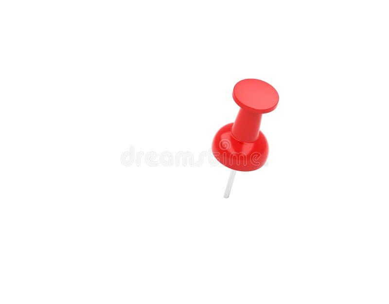 Κόκκινη καρφίτσα ώθησης, πινέζα που απομονώνεται στο άσπρο υπόβαθρο, τρισδιάστατο ελεύθερη απεικόνιση δικαιώματος