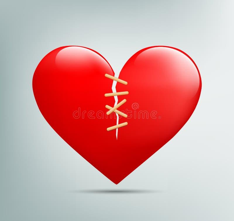 Κόκκινη καρδιά με μια ρωγμή απεικόνιση αποθεμάτων