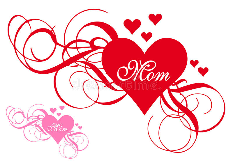 Κόκκινη καρδιά με τους στροβίλους, κάρτα ημέρας μητέρων ελεύθερη απεικόνιση δικαιώματος