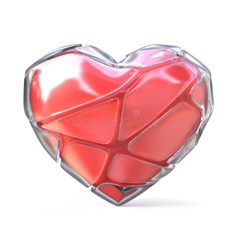 Κόκκινη καρδιά με το σπασμένο παγωμένο κοχύλι τρισδιάστατος διανυσματική απεικόνιση