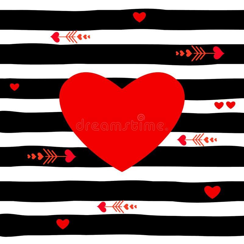 Κόκκινη καρδιά στο ριγωτό διάνυσμα σχεδίων, μαύρο ελεύθερη απεικόνιση δικαιώματος