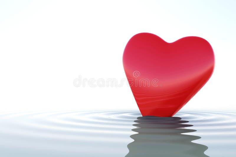 Κόκκινη καρδιά της Zen στο ήρεμο νερό ελεύθερη απεικόνιση δικαιώματος