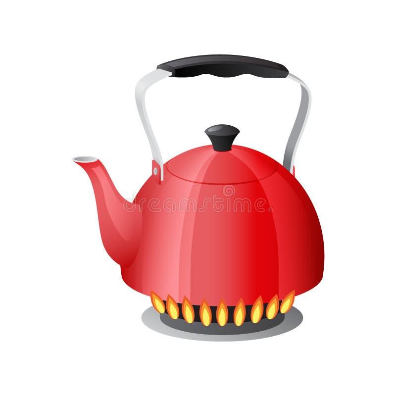Κόκκινη κατσαρόλα με το βραστό νερό στη φλόγα σομπών κουζινών αερίου, teapot με το κλειστό και ανοικτό καπάκι, που απομονώνεται σ ελεύθερη απεικόνιση δικαιώματος