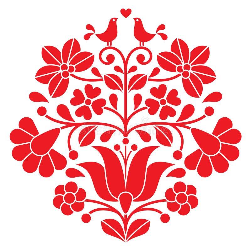 Κόκκινη κεντητική Kalocsai - ουγγρικό floral λαϊκό σχέδιο με τα πουλιά ελεύθερη απεικόνιση δικαιώματος