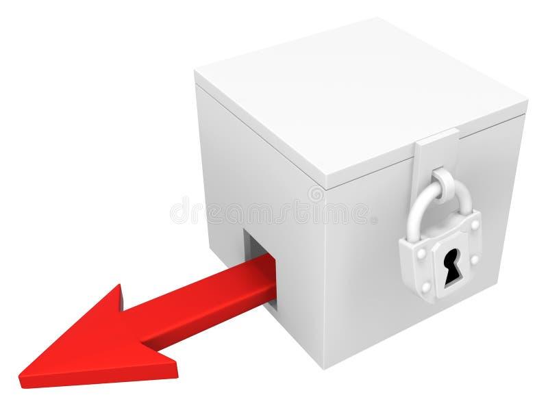 Κόκκινη κλειδωμένη κιβώτιο διαφυγή βελών ελεύθερη απεικόνιση δικαιώματος