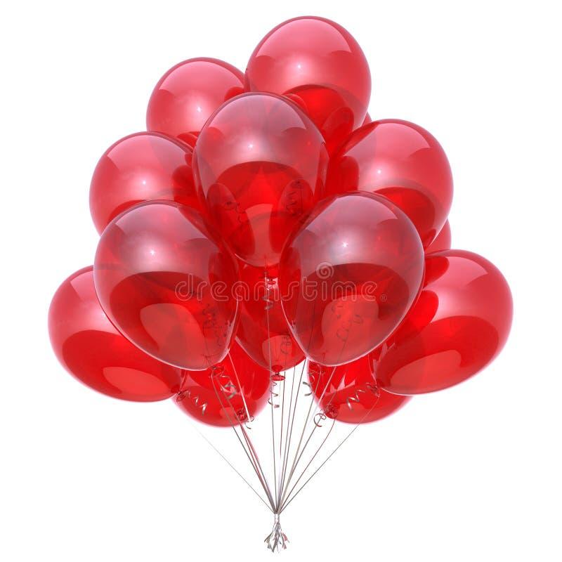Κόκκινη κομμάτων μπαλονιών γενεθλίων δέσμη μπαλονιών διακοσμήσεων στιλπνή απεικόνιση αποθεμάτων