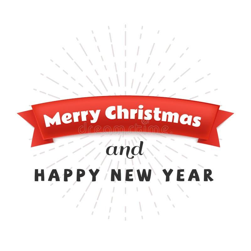 Κόκκινη κορδέλλα εγγράφου με τη Χαρούμενα Χριστούγεννα κειμένων και το έμβλημα καλής χρονιάς απεικόνιση αποθεμάτων