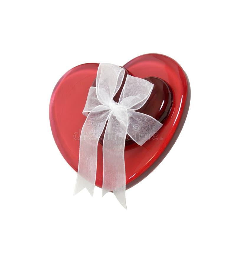 κόκκινη κορδέλλα καρδιών στοκ εικόνα με δικαίωμα ελεύθερης χρήσης