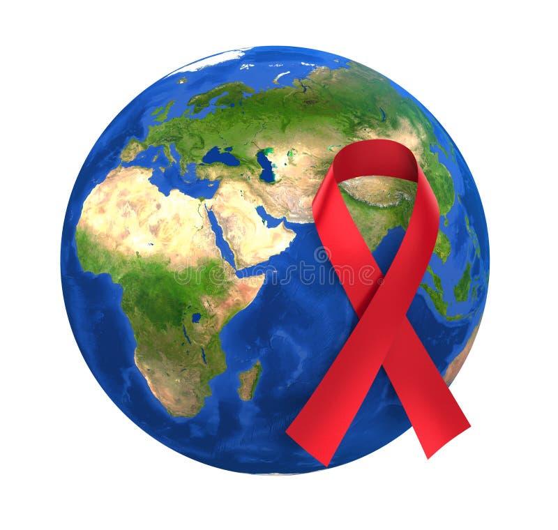 Κόκκινη κορδέλλα σφαιρών συνειδητοποίησης Παγκόσμιας Ημέρας κατά του AIDS ελεύθερη απεικόνιση δικαιώματος