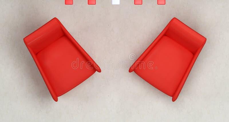 κόκκινη κορυφή δύο πολυθρόνων όψη διανυσματική απεικόνιση