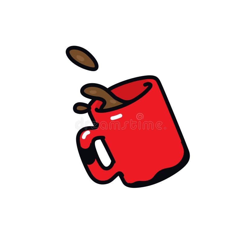 Κόκκινη κούπα εικονιδίων με τον καφέ r Απεικόνιση μιας κούπας του τσαγιού Σημάδι κινούμενων σχεδίων, σύμβολο διανυσματική απεικόνιση