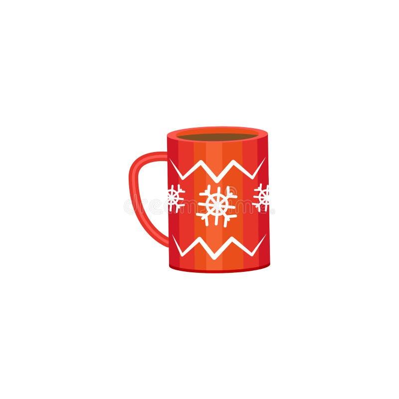 Κόκκινη κούπα - κακάο, καφές, τσάι, εικονίδιο χειμερινών διακοπών ελεύθερη απεικόνιση δικαιώματος