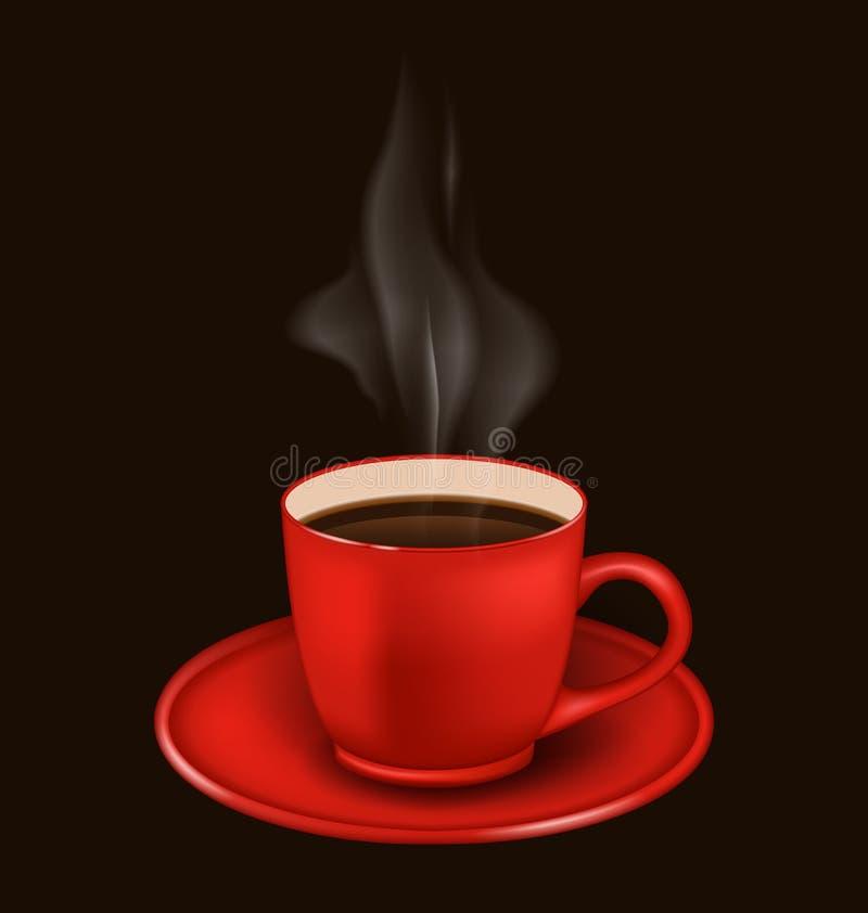 Κόκκινη κούπα καφέ με τον ατμό ελεύθερη απεικόνιση δικαιώματος