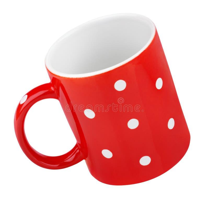Κόκκινη κούπα με το σημείο Πόλκα στοκ εικόνα με δικαίωμα ελεύθερης χρήσης