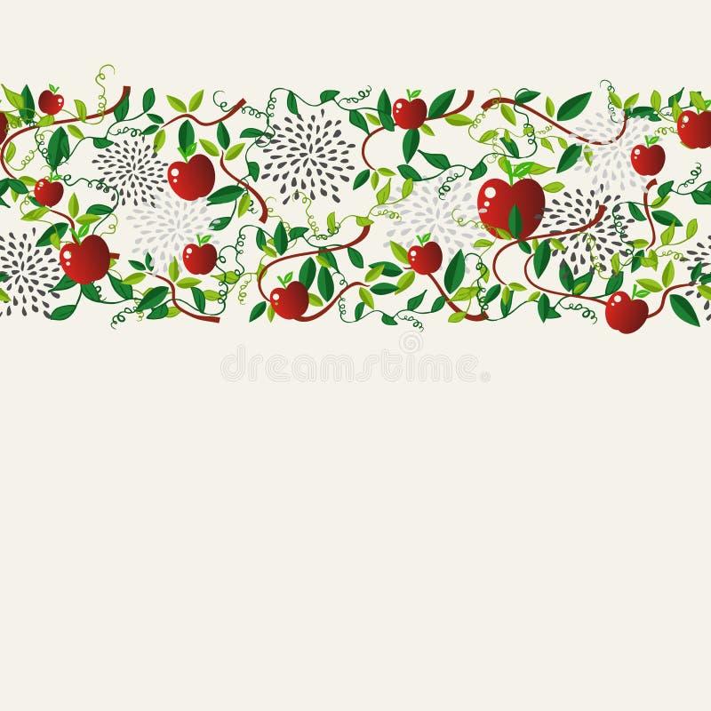 Κόκκινη μήλων γιρλάντα σχεδίων τροφίμων άνευ ραφής ελεύθερη απεικόνιση δικαιώματος