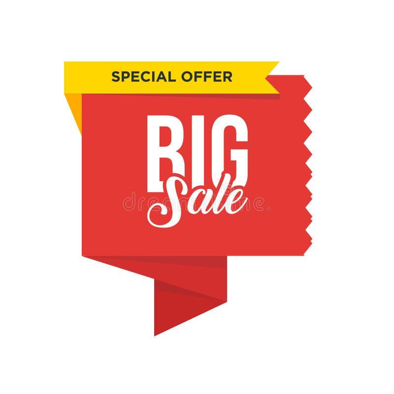 Κόκκινη μεγάλη διπλωμένη κορδέλλα με την κίτρινη κορδέλλα Σχέδιο προτύπων εμβλημάτων πώλησης Μεγάλη ειδική προσφορά πώλησης Ειδικ απεικόνιση αποθεμάτων