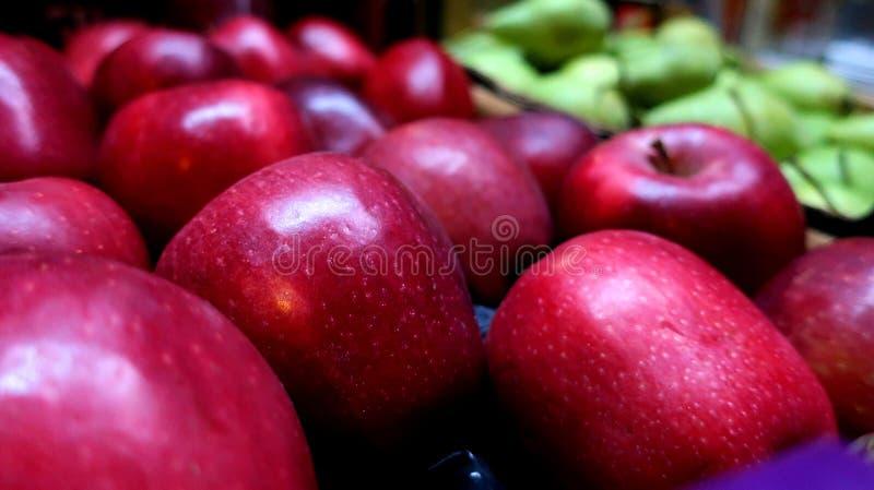 Κόκκινη μεγάλη φρέσκια συγκομιδή μήλων στοκ εικόνα