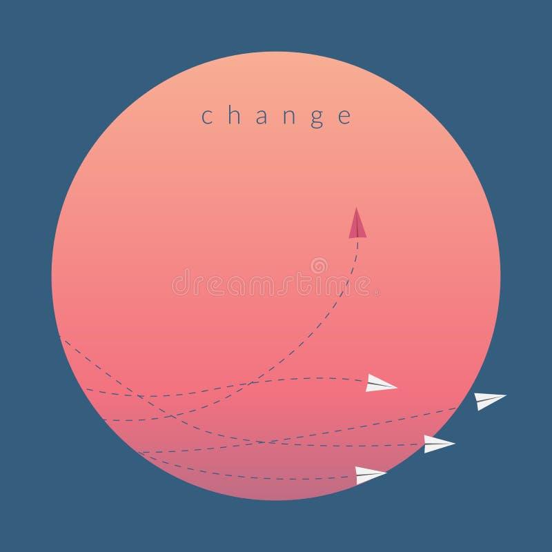 Κόκκινη μεταβαλλόμενη κατεύθυνση αεροπλάνων και άσπροι Νέα ιδέα, αλλαγή, τάση, θάρρος, δημιουργική λύση, επιχείρηση, πανδοχείο διανυσματική απεικόνιση