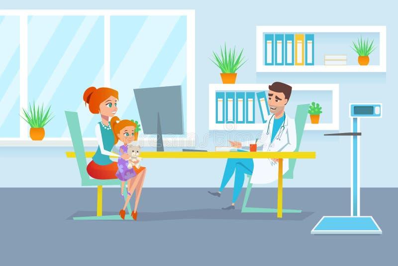 Κόκκινη μητέρα τρίχας με την κόρη της στην εξέταση παιδιάτρων στην υποδοχή πολυκλινικών διανυσματική απεικόνιση