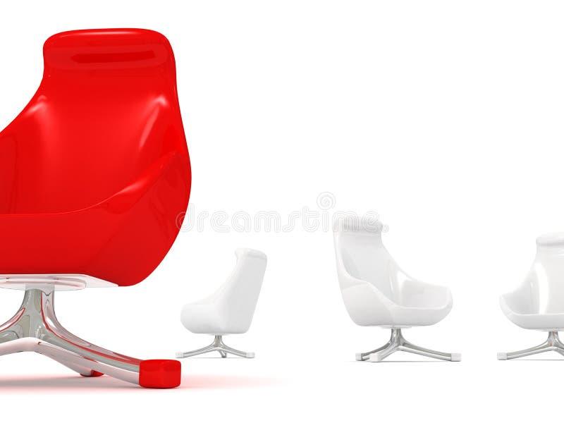 κόκκινη μοντέρνη μοναδικότητα ηγεσίας έννοιας πολυθρόνων διανυσματική απεικόνιση