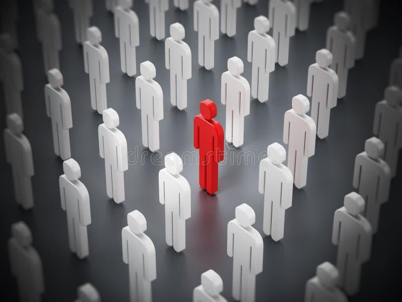 Κόκκινη μορφή προσώπων που ξεχωρίζει μεταξύ άσπρων ελεύθερη απεικόνιση δικαιώματος