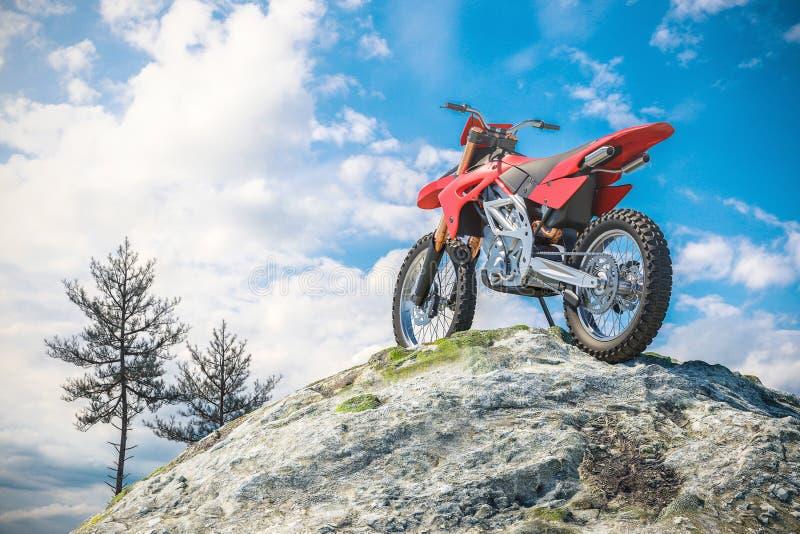 Κόκκινη μοτοσικλέτα πάνω από το τοπίο βουνών τρισδιάστατος ελεύθερη απεικόνιση δικαιώματος