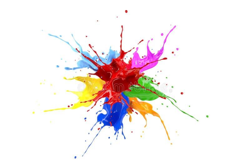Κόκκινη, μπλε, ρόδινη, κίτρινη, ανοικτό μπλε, πορτοκαλιά και πράσινη έκρηξη παφλασμών χρωμάτων απεικόνιση αποθεμάτων