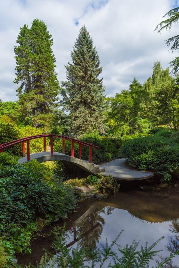 Κόκκινη ξύλινη ιαπωνική γέφυρα ποδιών στοκ εικόνα