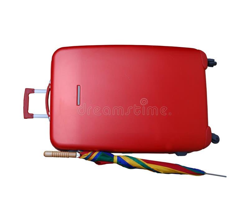 κόκκινη ομπρέλα βαλιτσών στοκ φωτογραφία με δικαίωμα ελεύθερης χρήσης