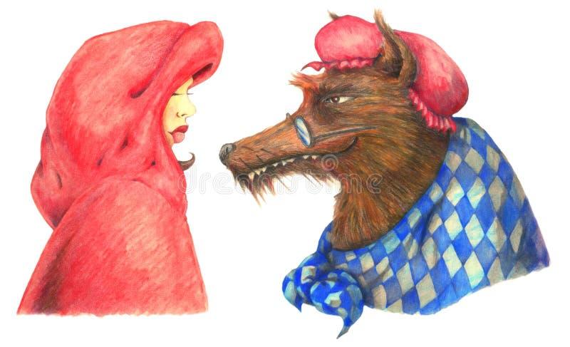 Κόκκινη οδηγώντας κουκούλα και ο μεγάλος κακός λύκος απεικόνιση αποθεμάτων