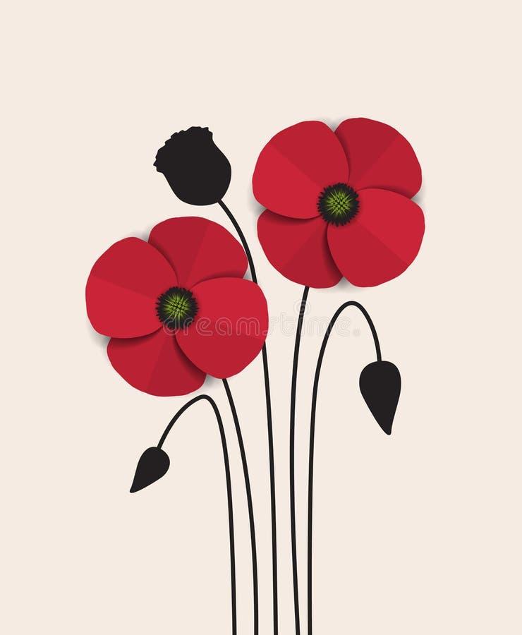 Κόκκινη παπαρούνα ελεύθερη απεικόνιση δικαιώματος