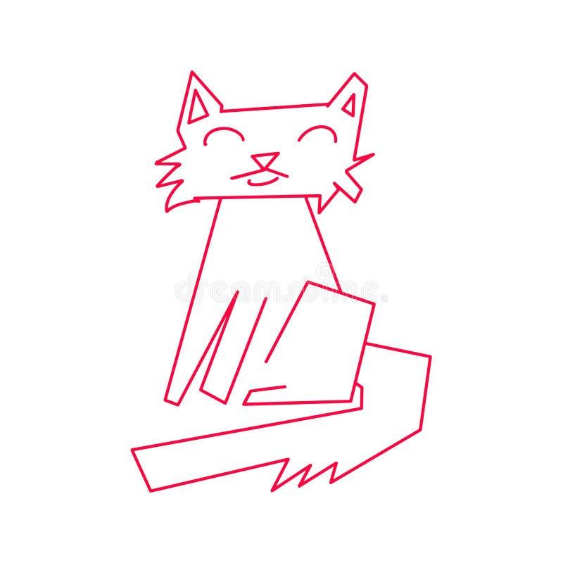 Κόκκινη περίληψη γατών Monoline Συρμένο χέρι ζωικό γατάκι με το πρόσωπο χαμόγελου Ευτυχές εικονίδιο κατοικίδιων ζώων Ύφος γραμμών απεικόνιση αποθεμάτων