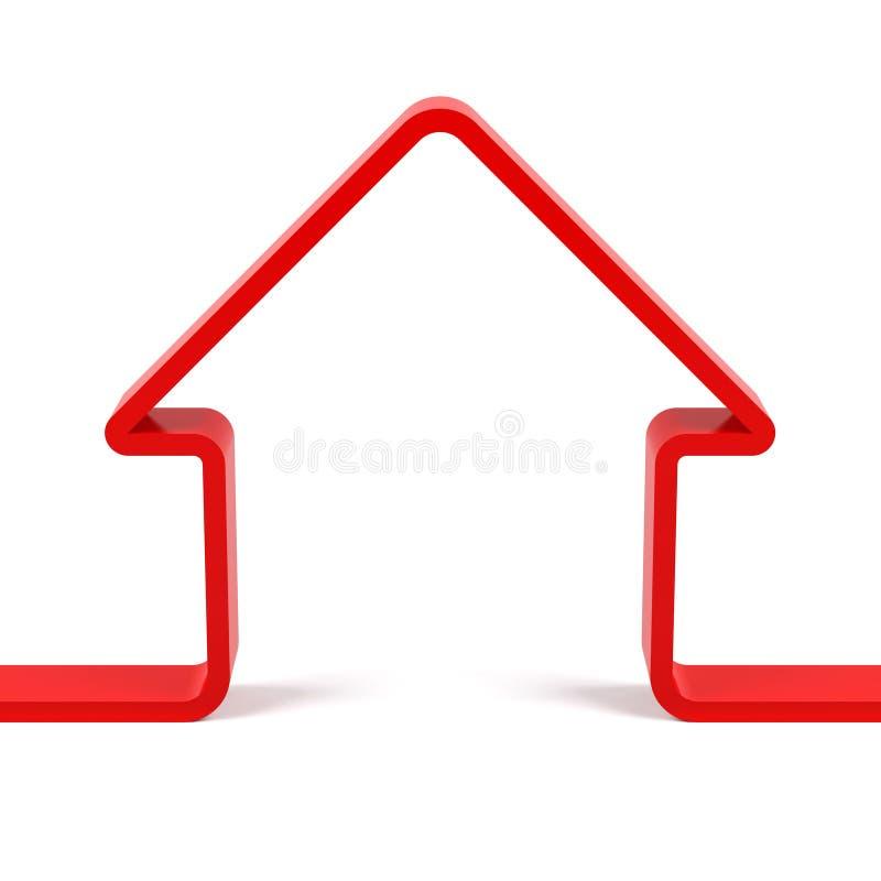 Κόκκινη περίληψη σπιτιών τρισδιάστατη δίνοντας εικόνα ελεύθερη απεικόνιση δικαιώματος