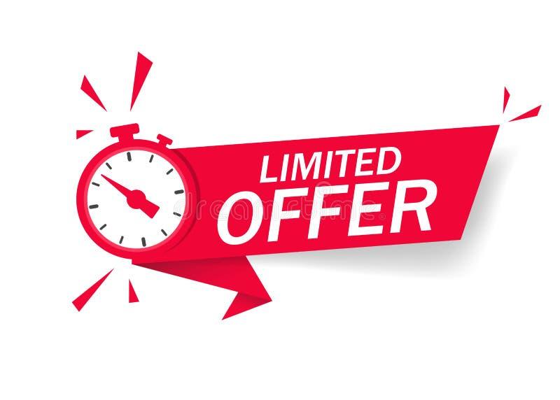 Κόκκινη περιορισμένη προσφορά με ρολόι για προώθηση, πανό, τιμή Αντίστροφη μέτρηση του χρόνου για την προσφορά προς πώληση ή την  ελεύθερη απεικόνιση δικαιώματος