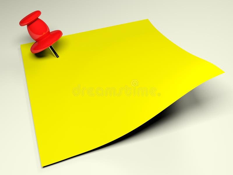 Κόκκινη πινέζα στην κίτρινη σημείωση - τρισδιάστατη απόδοση διανυσματική απεικόνιση