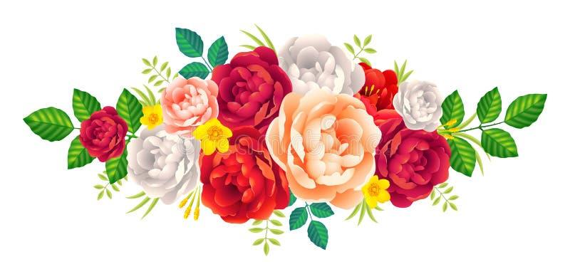 Κόκκινη, πορφυρή και ρόδινη διανυσματική floral ανθοδέσμη peonies, εκλεκτής ποιότητας διακόσμηση γαμήλιων καρτών διανυσματική απεικόνιση