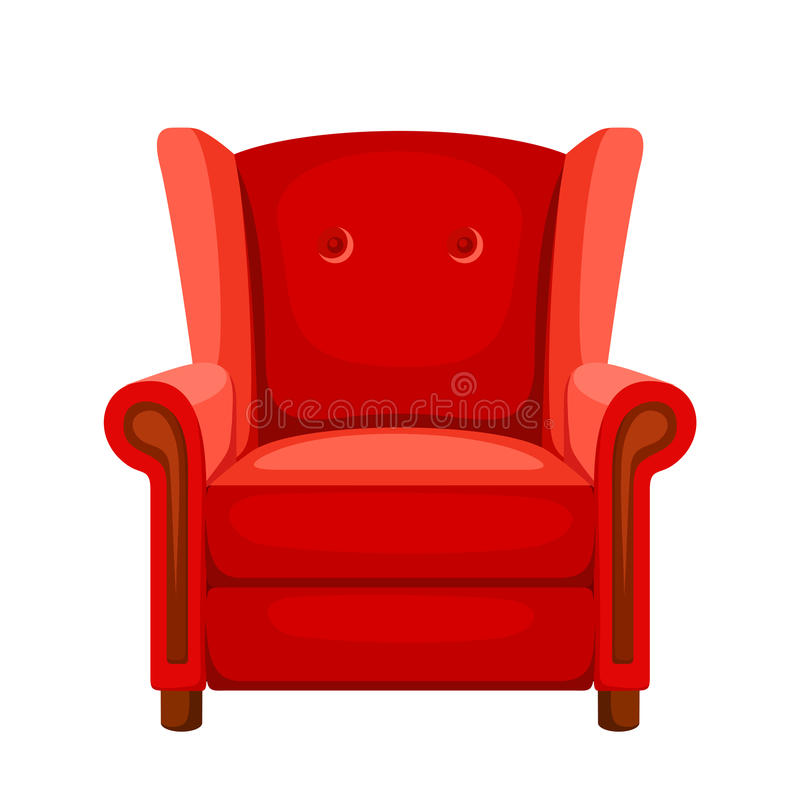 Κόκκινη πολυθρόνα επίσης corel σύρετε το διάνυσμα απεικόνισης απεικόνιση αποθεμάτων