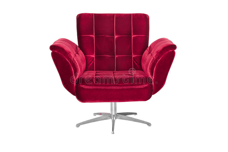Κόκκινη πολυθρόνα καναπέδων χρώματος που απομονώνεται στο άσπρο υπόβαθρο στοκ εικόνες