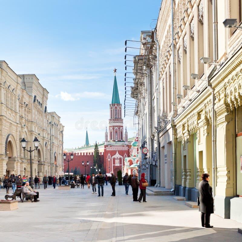 Κόκκινη πλατεία και οδός Nikolskaya στη Μόσχα στοκ φωτογραφία με δικαίωμα ελεύθερης χρήσης