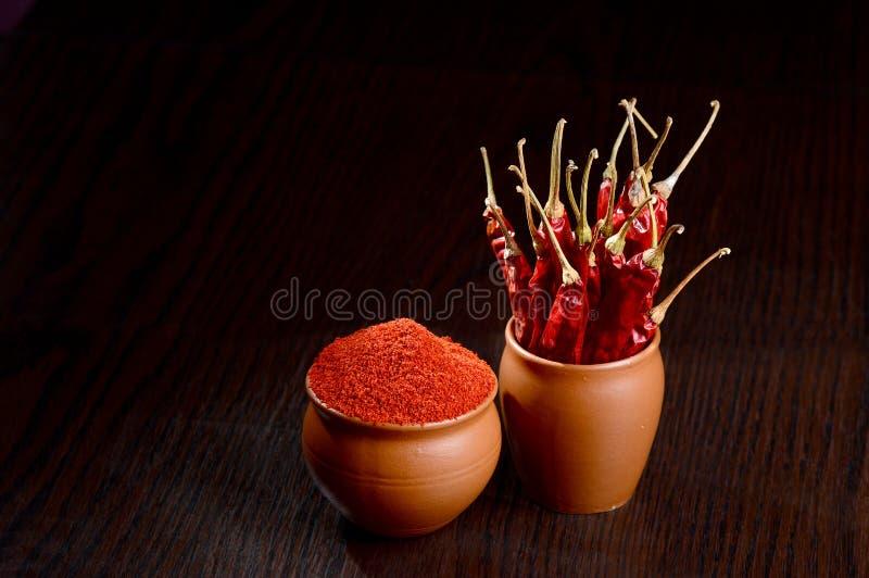 Κόκκινη σκόνη πιπεριών τσίλι στο δοχείο αργίλου στοκ εικόνες