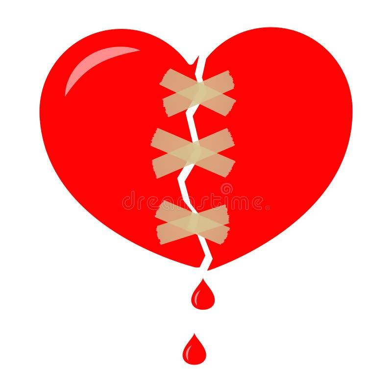 Κόκκινη σπασμένη καρδιά που τυλίγεται με την ταινία, κολλώδης ταινία Απελευθέρωση του αίματος διάνυσμα διανυσματική απεικόνιση